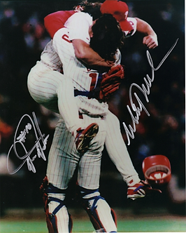 Mitch Williams Darren Daulton dual signed 1993 Phillies NLCS victory11x14