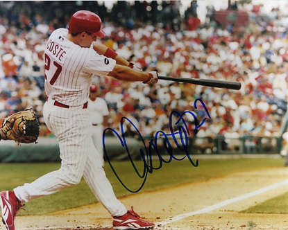 Chris Coste signed 2008 Philadelphia Phillies World Series Champs action 8x10