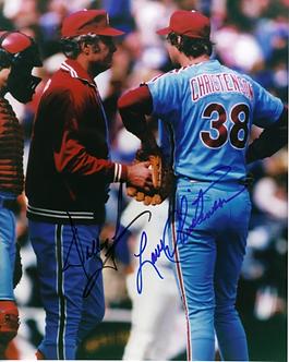 Dallas Green Larry Christenson dual signed 1980 Phillies World Series 8x10 photo