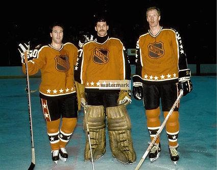 Flyers All Stars Ron Hextall Kjell Sammuelson Dave Poulin