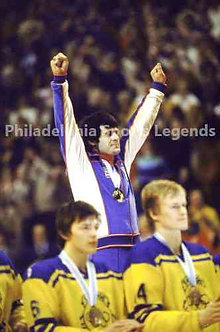 Mike Eruzione USA Olympic Hockey Miracle on Ice Gold Medal Podium photo