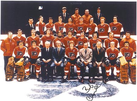 Bob Clarke autographed 1973-74 Philadelphia Flyers team 8x10 photo Stanley Cup!