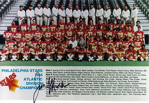 JIM MORA PHILADELPHIA STARS SIGNED 8X10 TEAM PHOTO