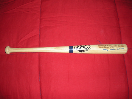 """Harry Kalas Phillies signed """"Outta Here"""" engraved HOF mini bat Ford C Frick 2"""