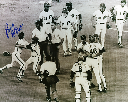 Larry Bowa 80's Philadelphia Phillies signed 8x10 arguing with Eric Gregg
