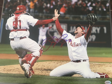 BRAD LIDGE PHILLIES SIGNED 2008 FINAL OUT 11X14