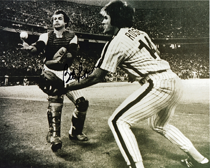 Bob Boone signed 1980 World Series Catch 8x10 with Pete Rose Game 6 #1