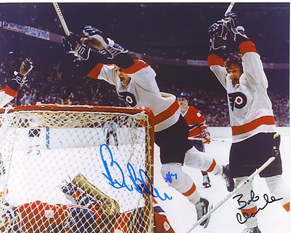 Bob Clarke Bill Barber Philadelphia Flyers dual signed 8x10 LCB line goal