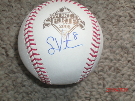 Shane Victorino autographed Phillies 2008 World Series baseball