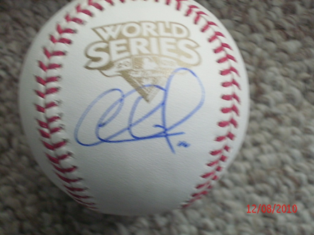 Chase Utley autographed 2009 Phillies World Series baseball