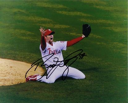 Brad Lidge Phillies signed 2008 World Series final pitch 8x10 #2