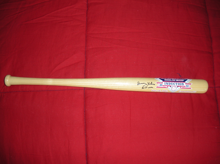 """Harry Kalas Phillies signed Hall of Fame 2002 induction bat """"Outta Here"""""""