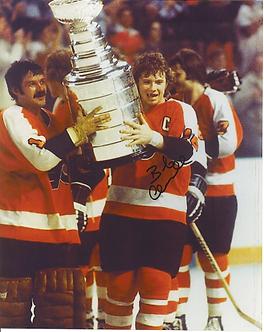 Bob Clarke Philadelphia Flyers signed 8x10 with Bernie Parent Stanley Cup