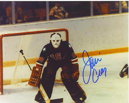 Jim Craig 1980 Olympic Hockey Miracle On Ice autographed 8x10 game photo #7