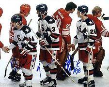 KEN MORROW, ROB MCCLANAHA HARRINGTON USA MIRACLE ON ICE SIGNED 1980 OLYMPIC 8X10