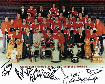 1974-75 STANLEY CUP FLYERS 8 SIGNED TEAM PHOTO CLARKE BARBER