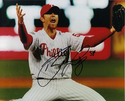 Brad Lidge Phillies signed 2008 World Series final pitch 8x10 #1