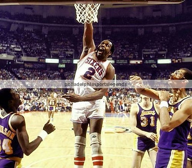 Moses Malone Philadelphia 76ers slam dunk photo HOF
