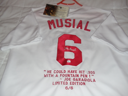Stan Musial St. Louis Cardinals autographed stat jersey 6 of 6! Hall of Fame