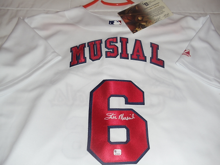 """Stan """"The Man"""" Musial Hall of Fame St. Louis Cardinals autographed jersey #3"""