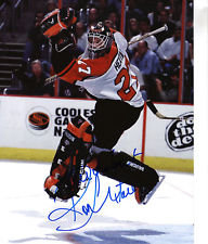 RON HEXTALL SIGNED PHILADELPHIA FLYERS LEAPING SAVE 8X10