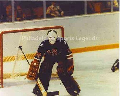 Jim Craig 1980 Olympic Hockey Miracle On Ice unsigned photo game shot.