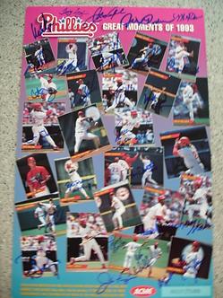 1993 National League Champion Philadelphia Phillies 11x17 team signed poster