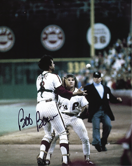 Bob Boone signed 1980 World Series Catch 8x10 with Pete Rose Game 6 #4