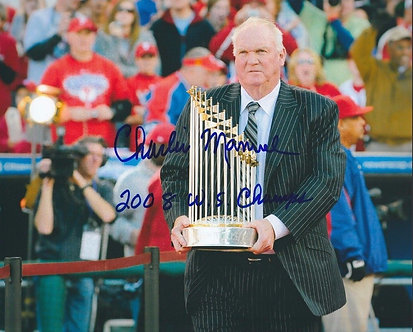 CHARLIE MANUEL PHILLIES SIGEND 8X10 2008 WORLD SERIES INSCRIPTION