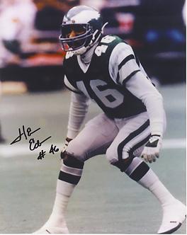 Herm Edwards Philadelphia Eagles ESPN autographed color 8x10 action photo