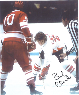 Bob Clarke Flyers autographed 8.5x11 team Canada War On Ice USSR #1