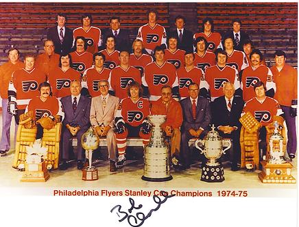 Bob Clarke autographed 1974-75 Philadelphia Flyers team 8x10 Stanley Cup Champs