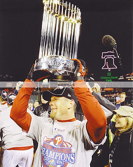 GEOFF JENKINS 2008 PHILLIES WORLD SERIES TROPHY PHOTO