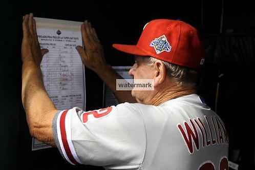 Jimy Williams Phillies 2008 World Series Line up photo