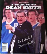 DEAN SMITH SIGNED AUTOGRAPHED NORTH CAROLINA BASKETBALL TRIBUTE MAGAZINE