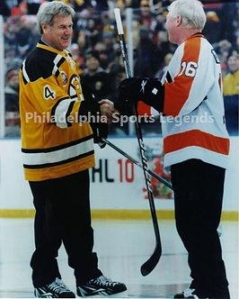 Bob Clarke Flyers Bobby Orr Bruins Winter Classic handshake 8x10