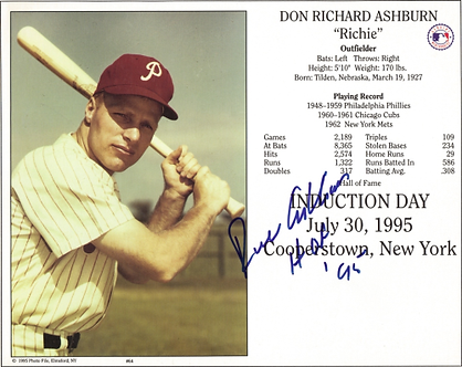 Rich Ashburn Philadelphia Phillies autographed Hall of Fame induction card