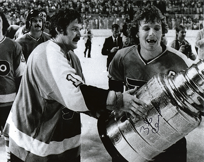 Bob Clarke Flyers signed holding Stanley Cup with Bernie Parent vintage 8x10