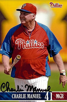 CHARLIE MANUEL 2008 PHILLIES WORLD CHAMPS SIGNED POSTCARD