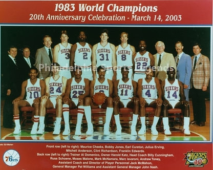 1983 Philadelphia 76ers NBA Champions 8x10 team photo