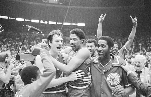 Julius Dr. J Erving Bobby Jones 1983 Philadelphia 76ers NBA Finals 8x10 photo