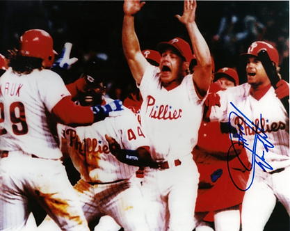 Darren Daulton signed 1993 Phillies NLCS celebration 8x10 Kruk Dykstra