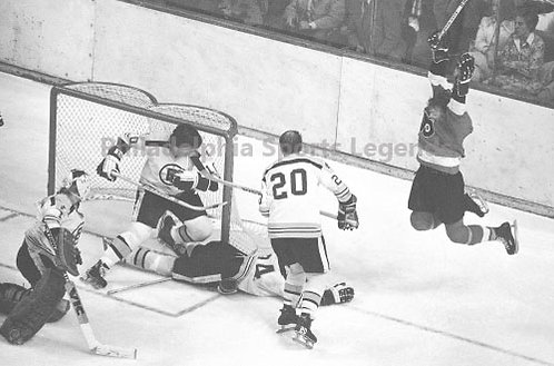 Bob Clarke Philadelphia Flyers playoff game winning goal vs Boston Bruins