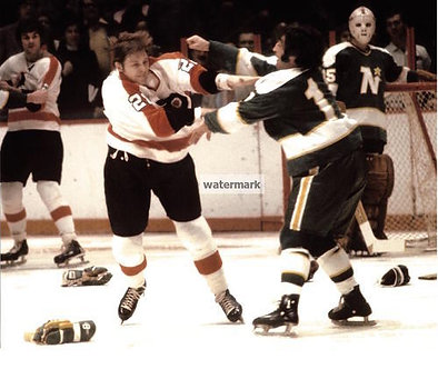 """ANDRE """"MOOSE"""" DUPONT FLYERS BROAD ST BULLIES FIGHT PHOTO"""