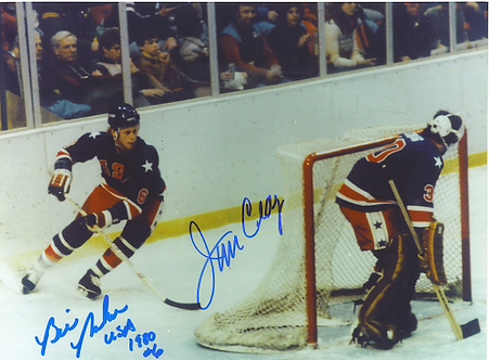 Jim Craig Bill Baker signed 1980 USA Miracle on Ice Olympic Ice Hockey 8x10