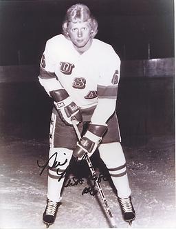 Bill Baker signed B&W 1980 USA Miracle on Ice Olympic Ice Hockey 8x10
