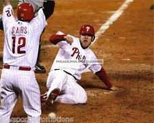 ERIC BRUNTLETT PHILLIES 2009 WORLD SERIES GAME WINNING RUN 8X10 PHOTO