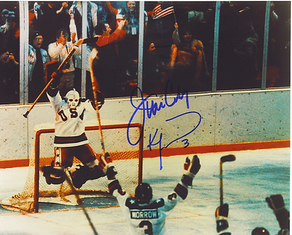 Jim Craig Ken Morrow dual signed 1980 Olympic Miracle on Ice 8x10 photo