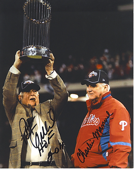 Charlie Manuel Pat Gillick 2008 Phillies dual signed 11x14 World Series Trophy