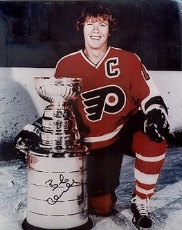 Bob Clarke Philadelphia Flyers signed 8x10 photo with the Stanley Cup